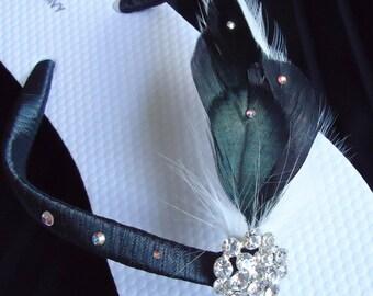 Black  and White Flip Flops. Black and White Feathers flip flops. Bridal Flip Flops with SWAROVSKI Crystals-LAUREN-