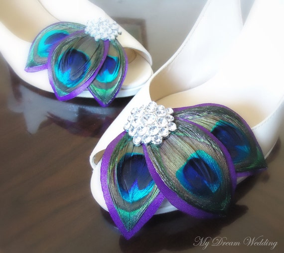 Purple Peacock Shoe Clips. Leaves Shoe Clips. Feathers, Wired petals, Bride, Bridal, Wedding-   LISSA MARIE COLLECTION-