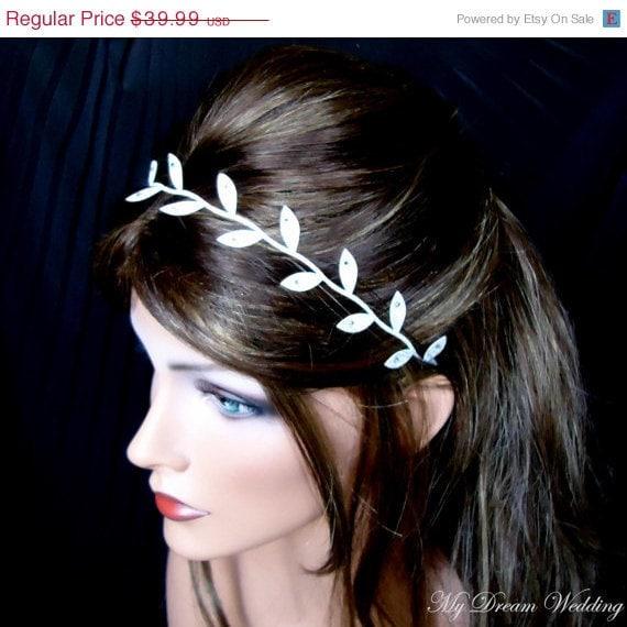 Greek headband, greek headpiece, greek headband in handmade, bridal forehead band, bridal headpiece forehead, halo, MADISON-Silver