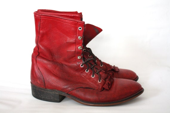Vintage Lipstick Red Laredo Roper Boots // 8m