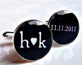 Initials Heart Date Love CuffLinks - Custom Colors - Silver or Antiqued Brass - Resin Waterproof - Groom Groomsmen Wedding Anniversary