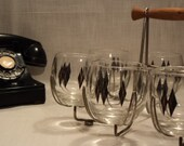roly poly glasses and drink caddy mid century danish modern