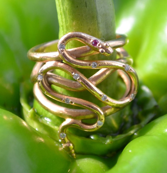 Rose Gold Snake Ring with Diamonds and Ruby, 18k - serpent jewelry, Year of the Snake, positive energy, good luck charm, snake jewelry