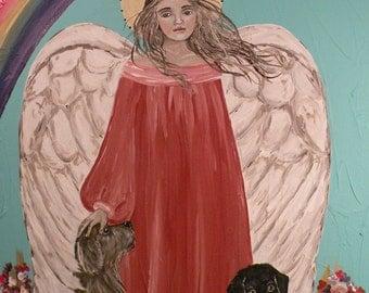 Folk Art Angel Dog Rainbow Bridge PRINT of Painting by Lore