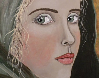 "Folk Art Portrait Print of Painting ""The Green Cape"""