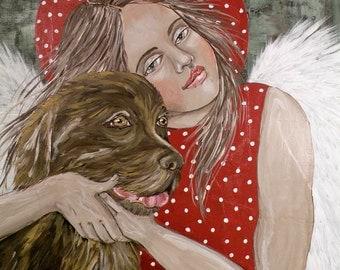 Folk Art Angel Dog Love Print of Painting by Lore