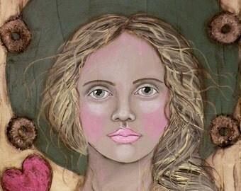 "Folk Art Angel Portrait PRINT of Original Painting ""Tender Heart"" by Lore"