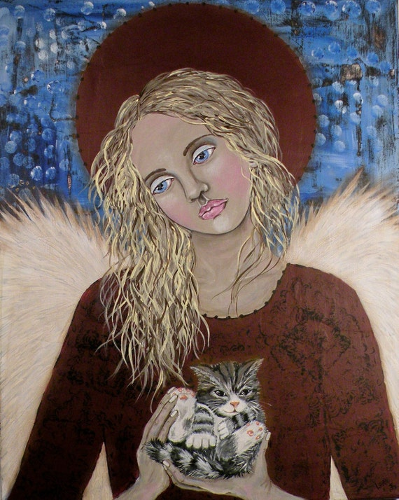 """Folk Art Angel Kitten """"Tiny Miracle"""" Print of Painting by Lore"""