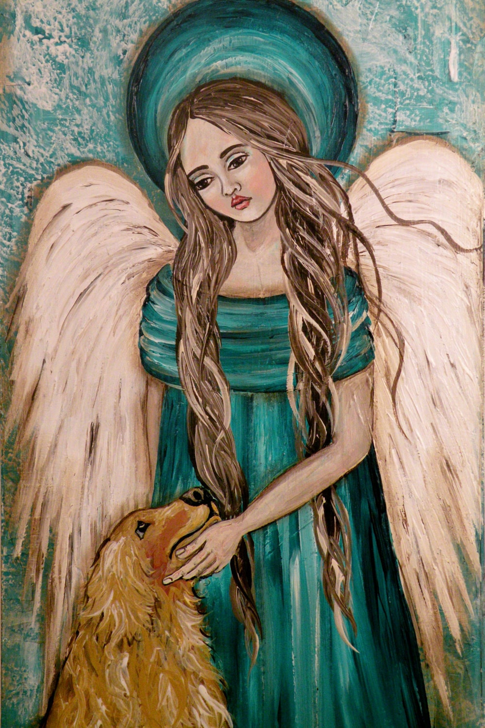Folk Art Angel with Dog I Will Meet Thee at the
