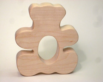 Wooden Teether Baby Teether Teddy Bear Teether for Infants and Toddlers