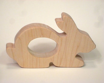 Wooden Teether, Bunny Teether, Natural Maple Wood Teether
