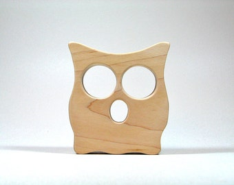 Wooden Owl Teether - All natural safe eco friendly teething toy