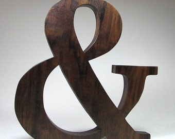 Wooden Ampersand Character & character Natural Solid Wood