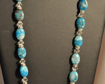 Crazy Blues and Crystal necklace