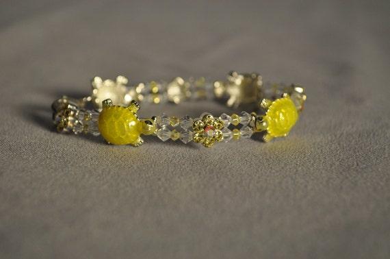 YELLOW TURTLE Swarovski crystal bracelet-7.25 in