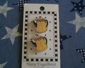 Mary Engelbreit Designer Button, Yellow & Black Spot Tea Pots / Coffee Pots