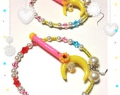 Sailor Moon/Crescent Moon Wand Hoop Earrings