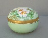 Vintage Hand Painted and Signed Green Porcelain Trinket Box with Gold Trim and Pink Flowers