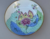 Vintage Porcelain and Brass Chinese Decorative Floral Bowl