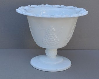 White Milk Glass Pedestal Compote Dish Grapes and Leaves