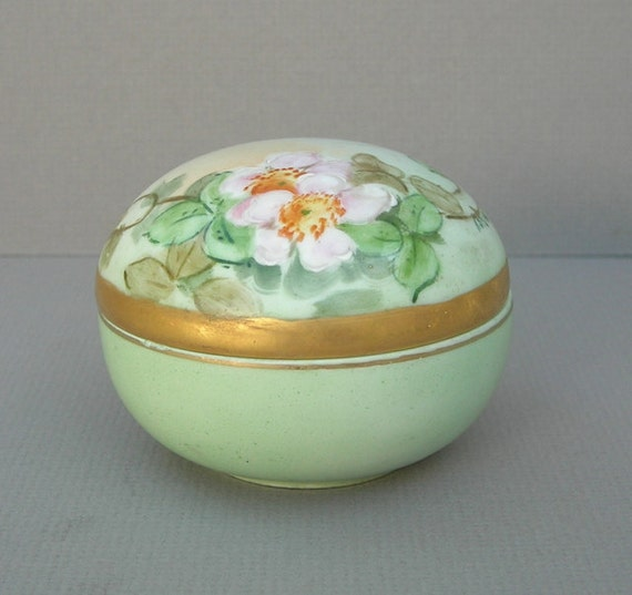 Vintage Hand Painted and Signed Green Porcelain Trinket Box with Gold Trim and Pink Flowers Vanity Jar