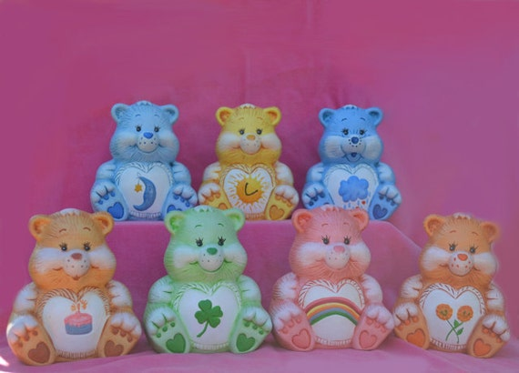 Vintage Set of 7 Ceramic Care Bears