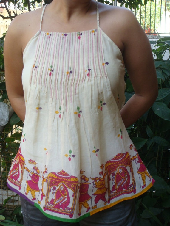 Printed camisole made from vintage sari