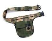 Plaid waist bag, green, black, beige/brown