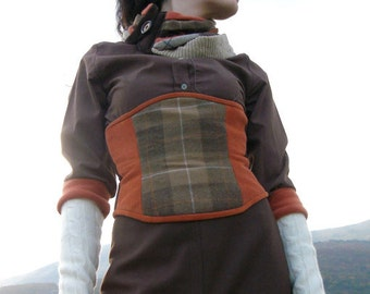 Underbust steampunk corset - Orange brown corset belt - Brown corset - Recycled corset - Larp