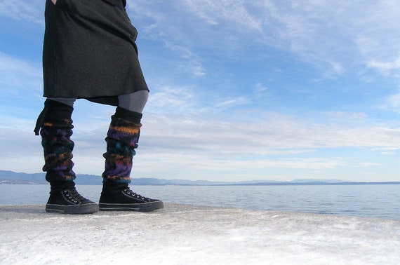 Reserved for Cyndy - Recycled sweaters leg warmers, black, colorful pattern