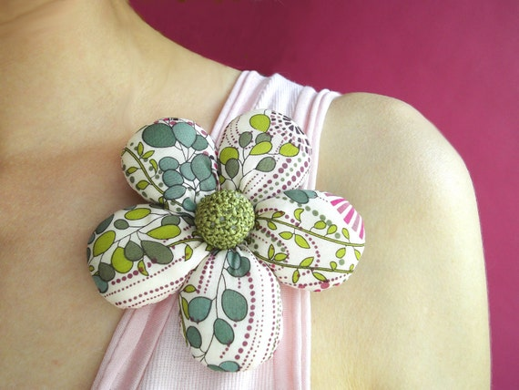 Delicate Fabric Flower Brooch, Liberty of London