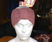 Knit head band in soft pink  with bow effect gather
