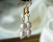 large ivory white freshwater rice pearl gold fish hook dangle earrings