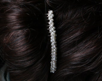 freshwater ivory tiny nugget pearl silver hair comb pin for wedding or prom
