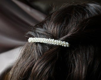freshwater ivory white tiny nugget pearl hair barrette clip slide pin for wedding or prom silver