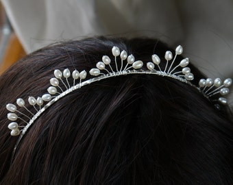 freshwater pearl tiara ivory rice pearl silver tiara alice band headband, fan crown design. for bride, wedding