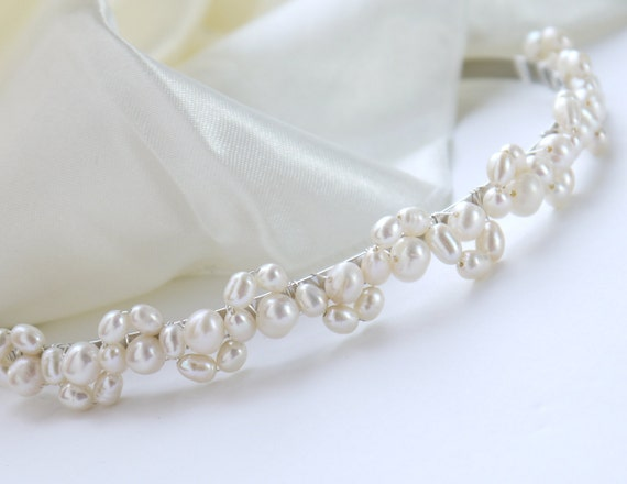 freshwater pearl headband ivory rice and round pearl silver tiara alice band headband lace design for bride, wedding