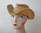 RESERVED: Leather Cowboy Hat, Natural Suede Cowgirl, Outback Hat by Minnetonka, size Small, Vintage