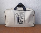 Canvas Duffel Bag, 1980 Olympic Games in Lake Placid, Vintage