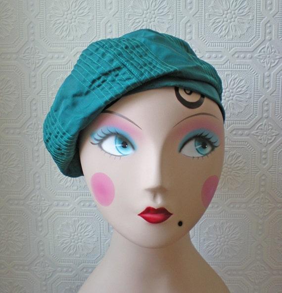 Beret Slouch Hat, Green Blue, Geometric Topstitch, Taffeta, Vintage
