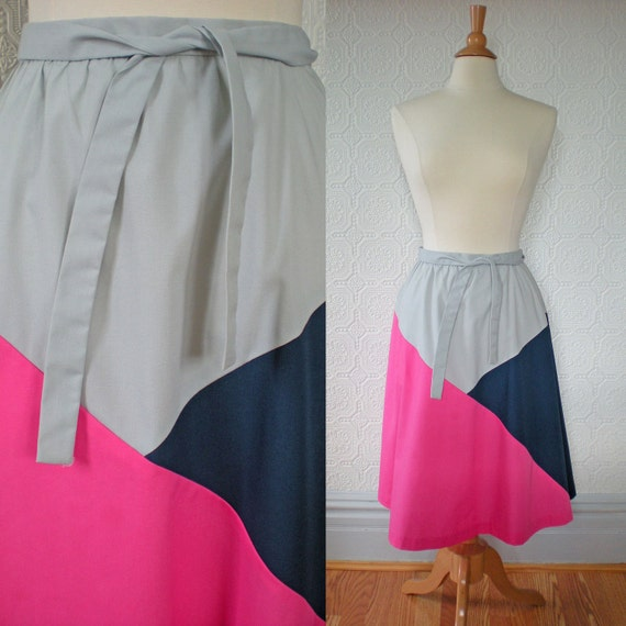 Wrap Skirt M, Patchwork Color block A-line, by Great Go-togethers, Vintage 1970's