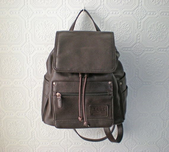 Brown Faux Leather Backpack Backpack Purse Brown Faux