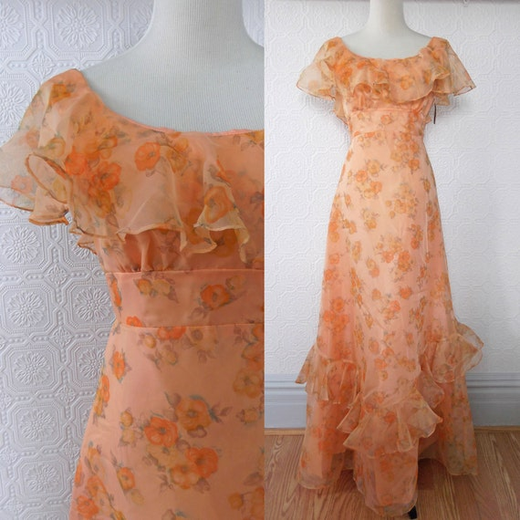 Floral Maxi Dress, Peach with Ruffles, Bridesmaid's Dress, NOS, size Small, Vintage 1970's
