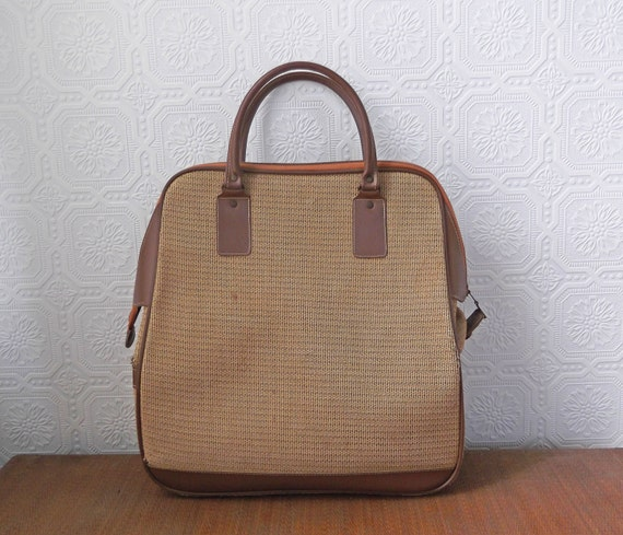 Tweed Luggage, Brown Houndstooth Carry-on Bag, Carpet Bag, made in England, Vintage