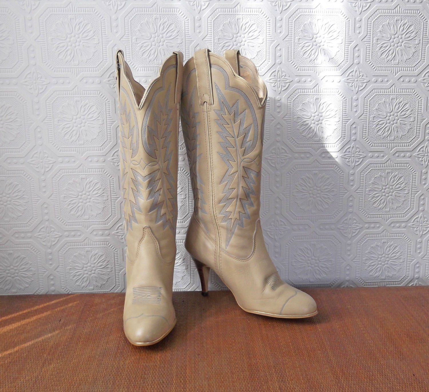 white boots high heel cowboy boots by