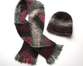 Handmade Women's  Winter Knit Hat and Scarf Set