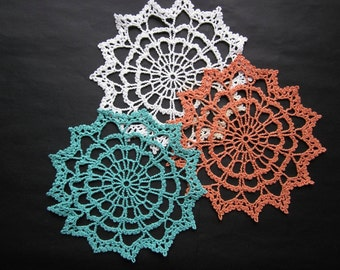 New Vintage Chic Handmade Crochet Cotton Doily for sale
