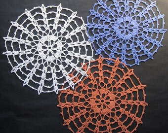 New Handmade Crocheted Cotton Spiderweb Doilies for sale