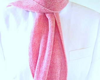 Small Handwoven Soft Pink Chenille Scarf for Women