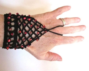 Black Crochet Slave Bracelet with Red Glass Beads